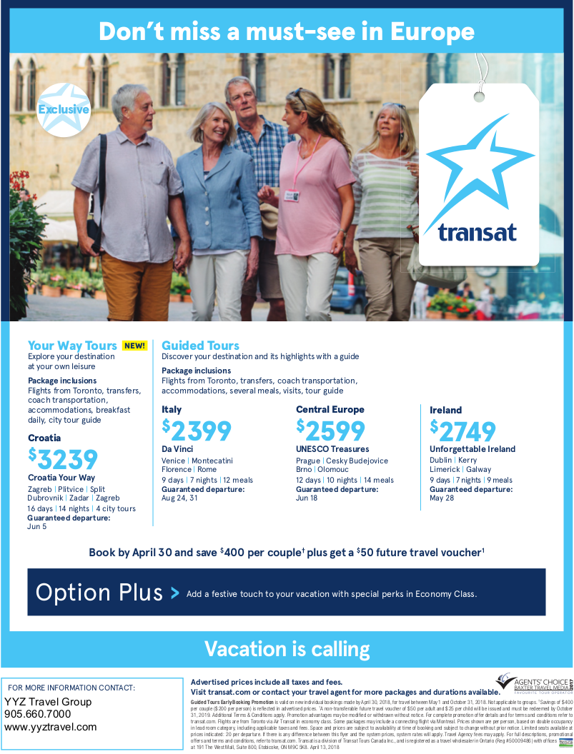 Europe with Transat from Toronto