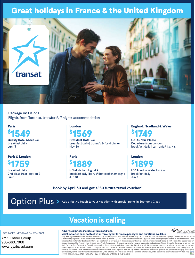 Great holidays in France & the United Kingdom with Transat