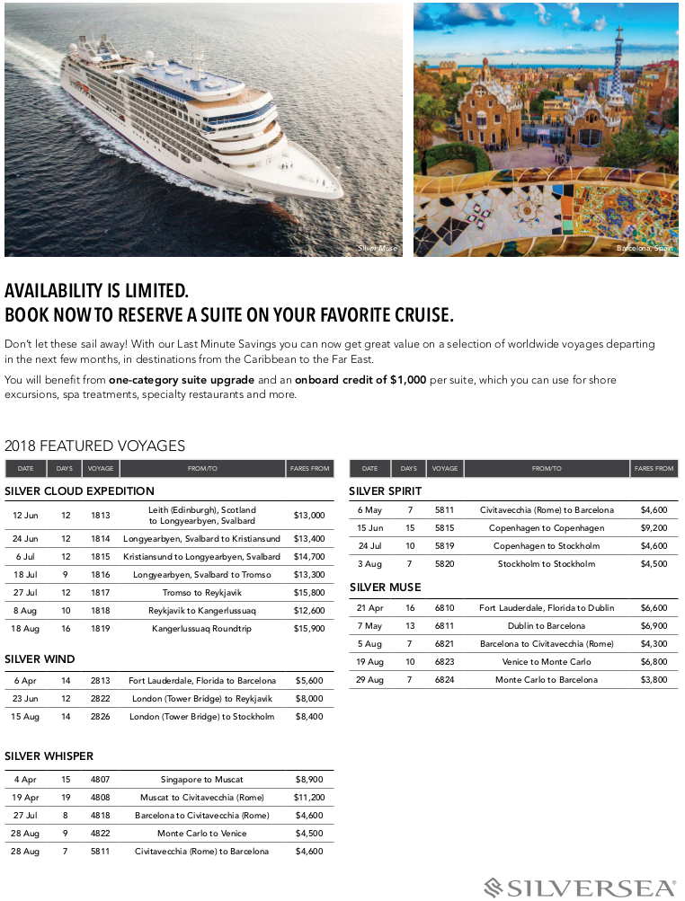 Silversea Cruise Specials. Last minute savings