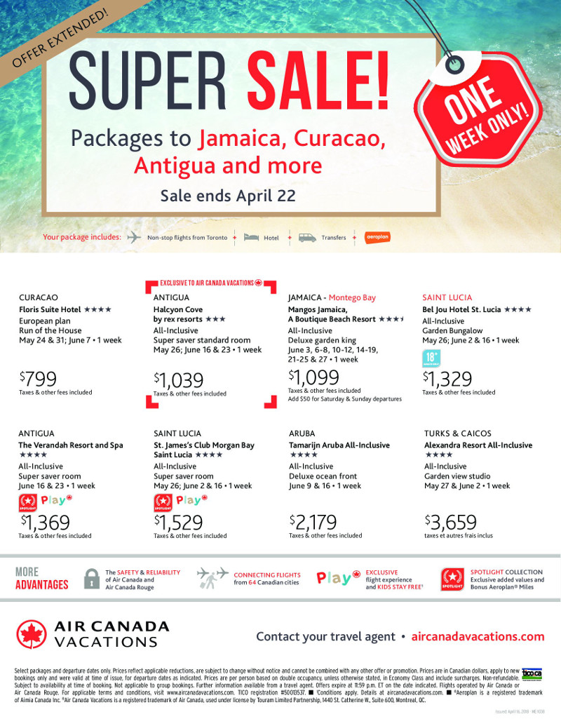 Super Sale with Air Canada Vacations