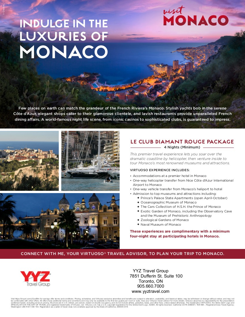 Indulge in the Luxuries of Monaco. Luxury Travel Monaco