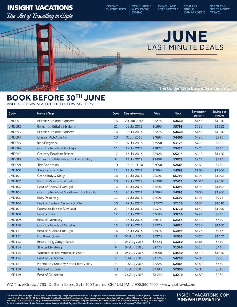 Europe Tours Now on Sale for Summer departures