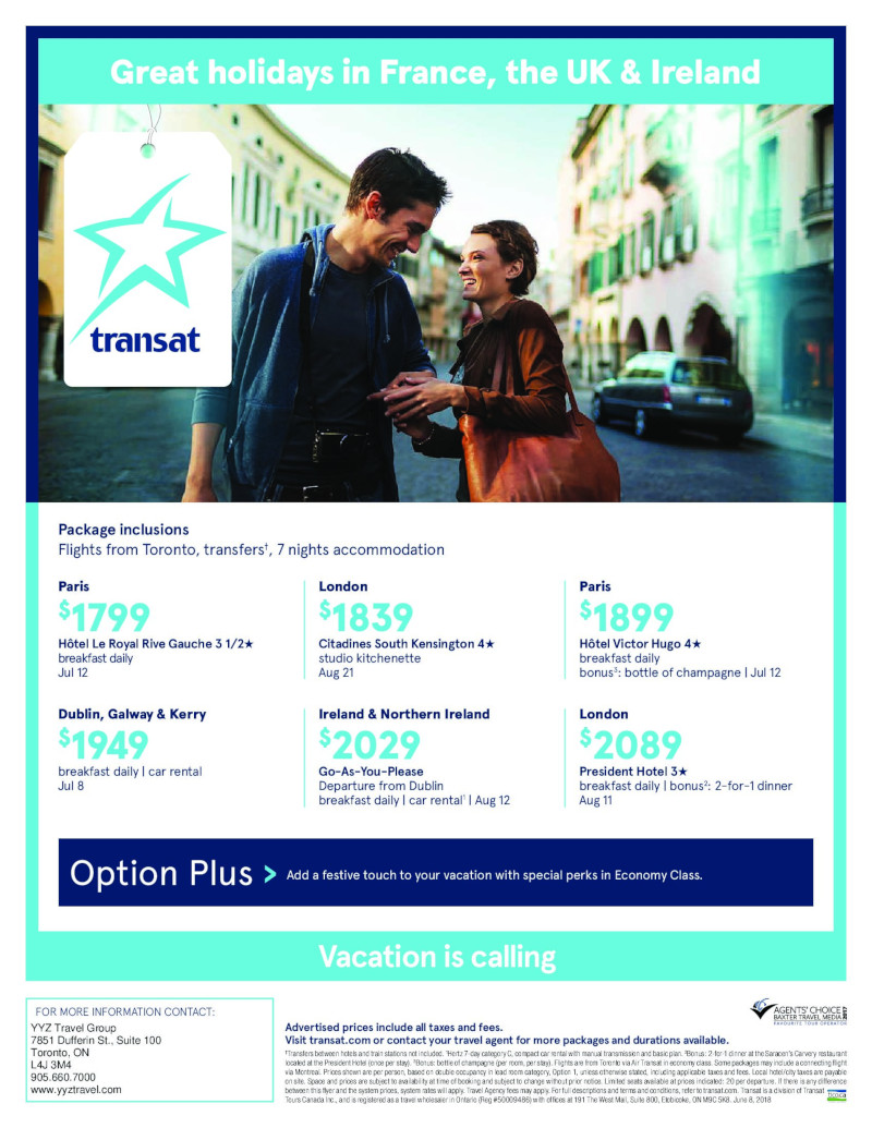 Great holidays in France, the UK & Ireland with Transat