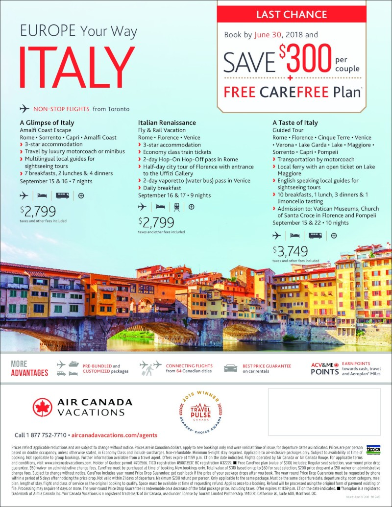 Italy on Sale- Book by June 30,2018