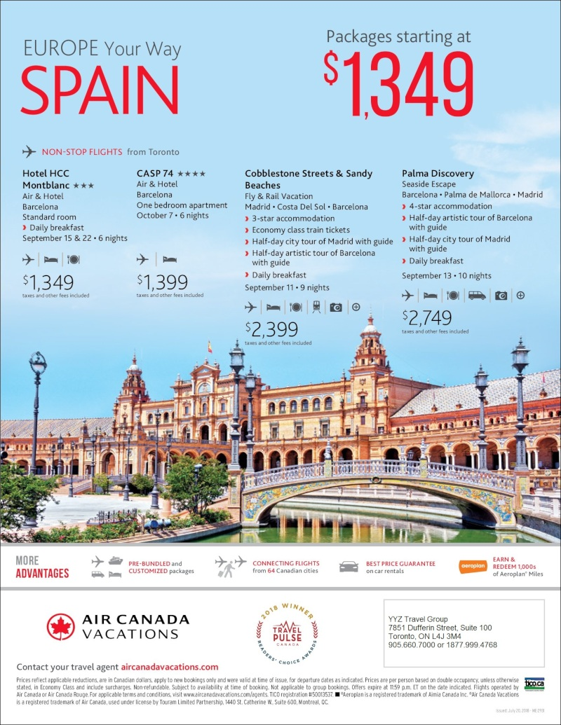 Spain packages starting at $1 349