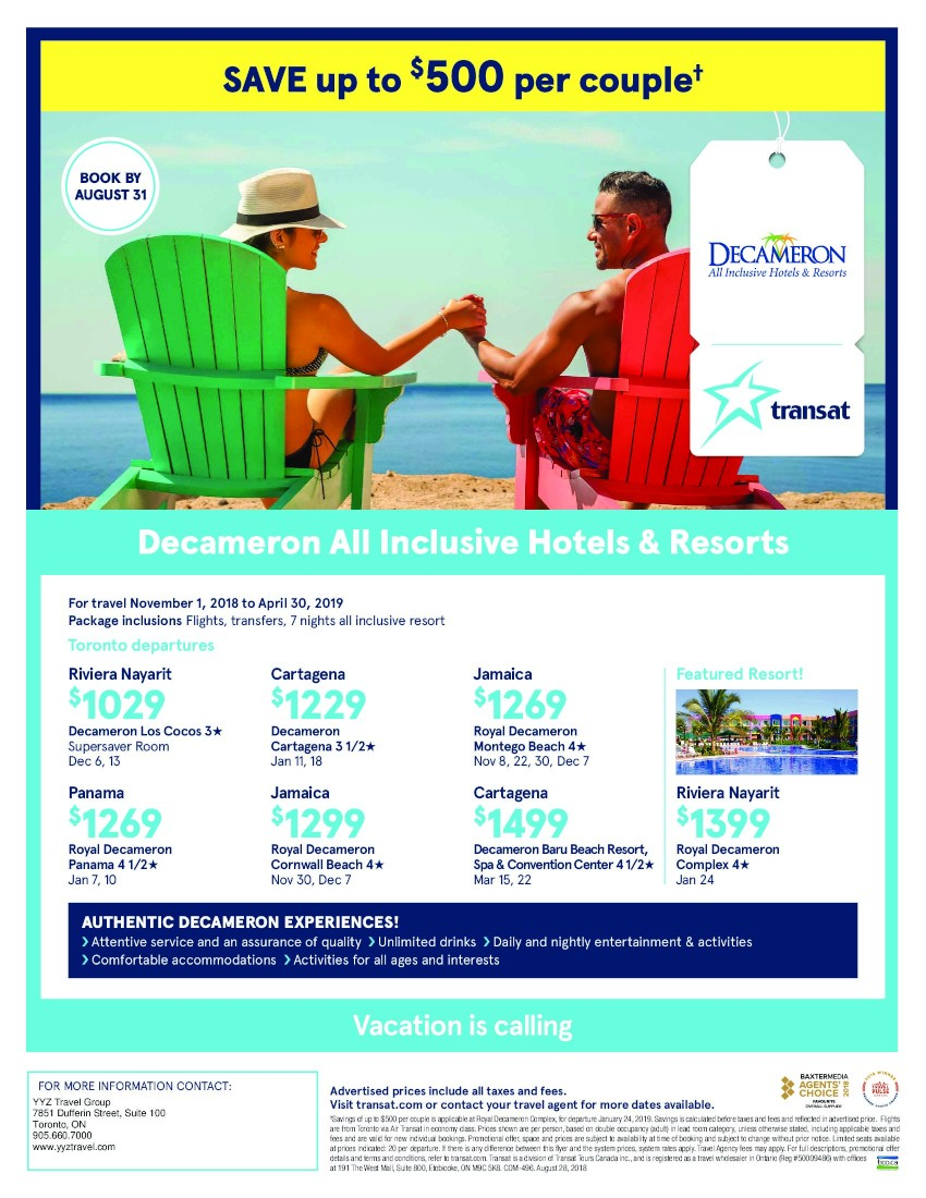 Decameron all inclusive Hotels & Resorts now on sale from $1029 per person