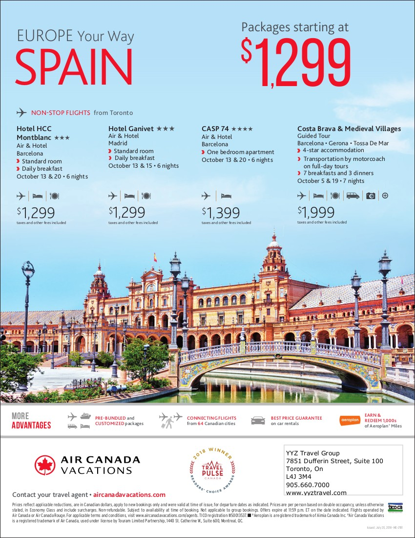 SPAIN packages starting at $1,299