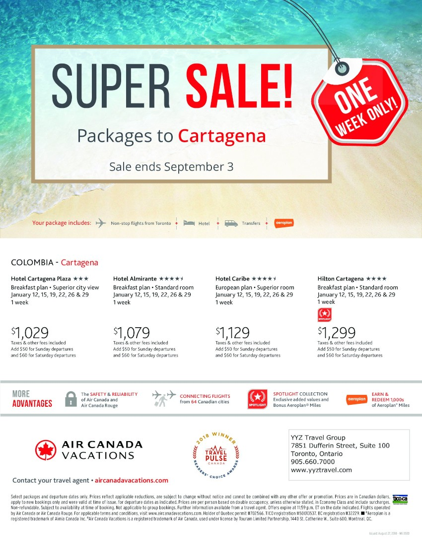 Super Sale - Packages to Cartagena - sale ends Sept 3