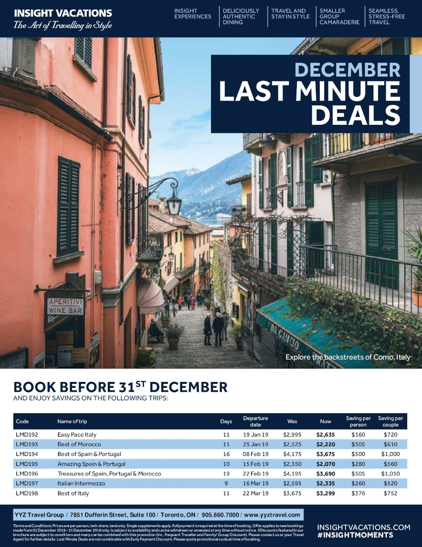 Last Minute Deals in December