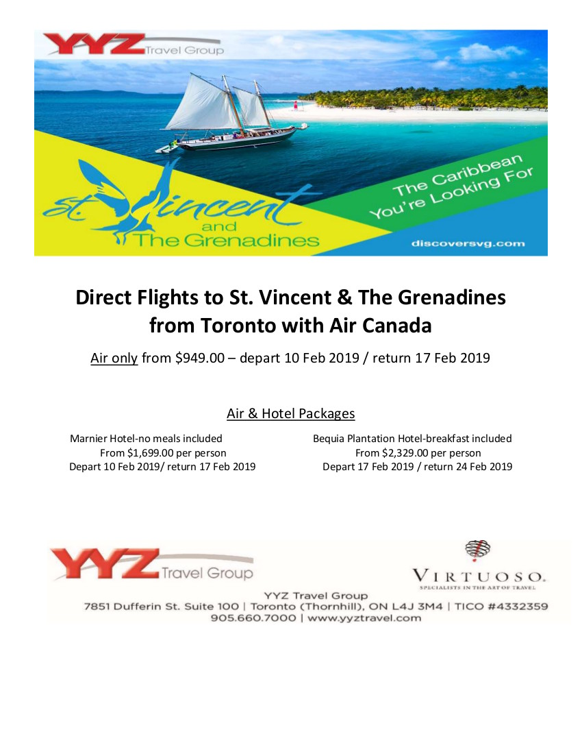 Direct Flights to St. Vincent & The Grenadines from Toronto with Air Canada