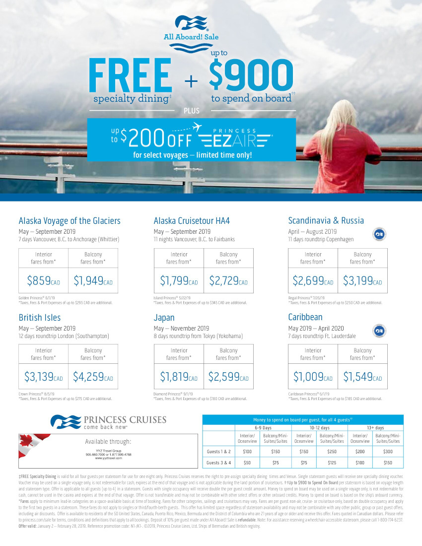 PRINCESS CRUISES Free specialty dining + $900 to spend onboard