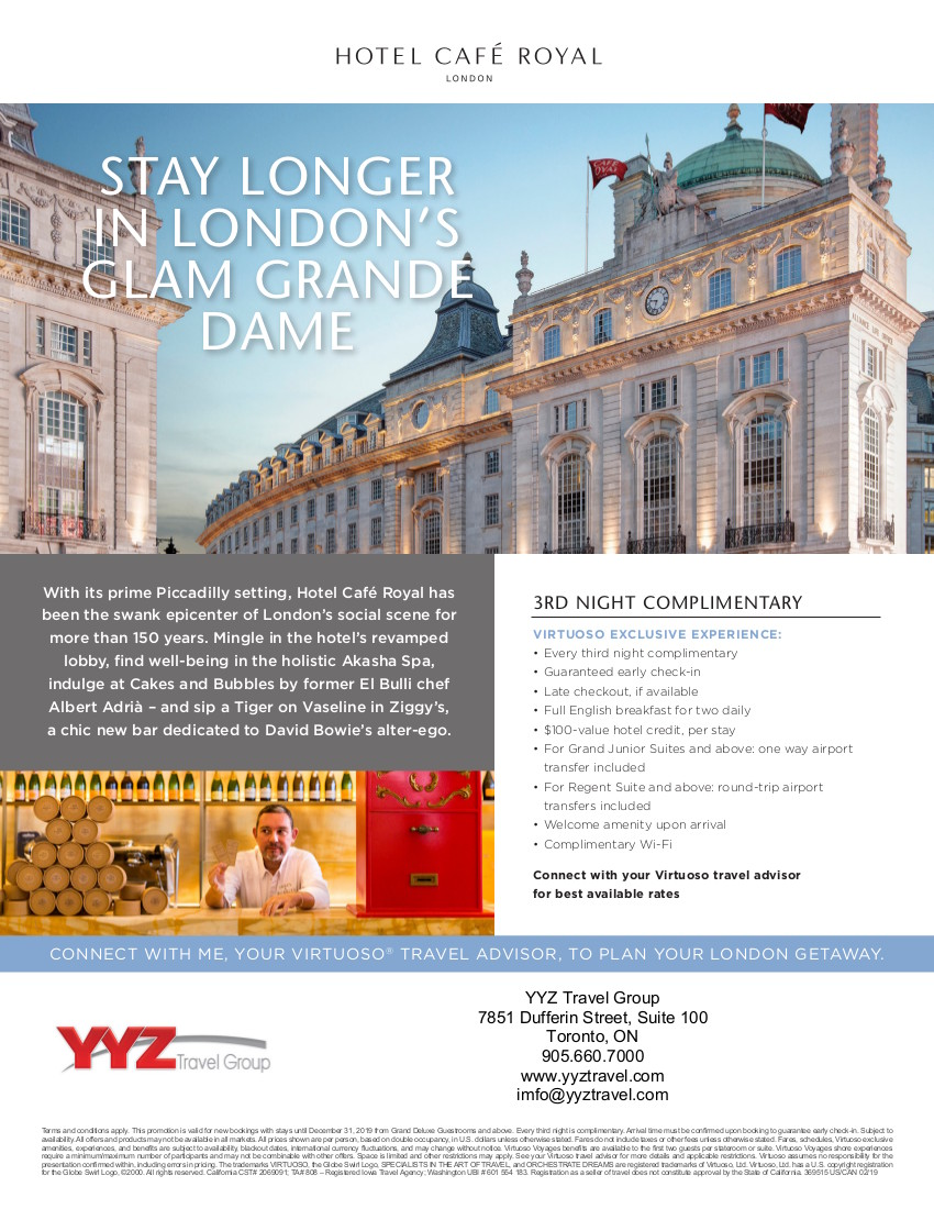 Hotel Café Royal London | Virtuoso travel experience